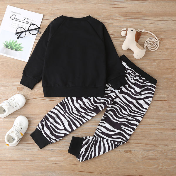 Unisex Zebra Cartoon Printed Long Sleeve Top & Pants Trendy Kids Wholesale Clothing