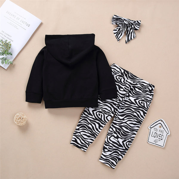 Baby Unisex Zebra Letter Print Hooded Top & Pants Baby Boutique Wholesale