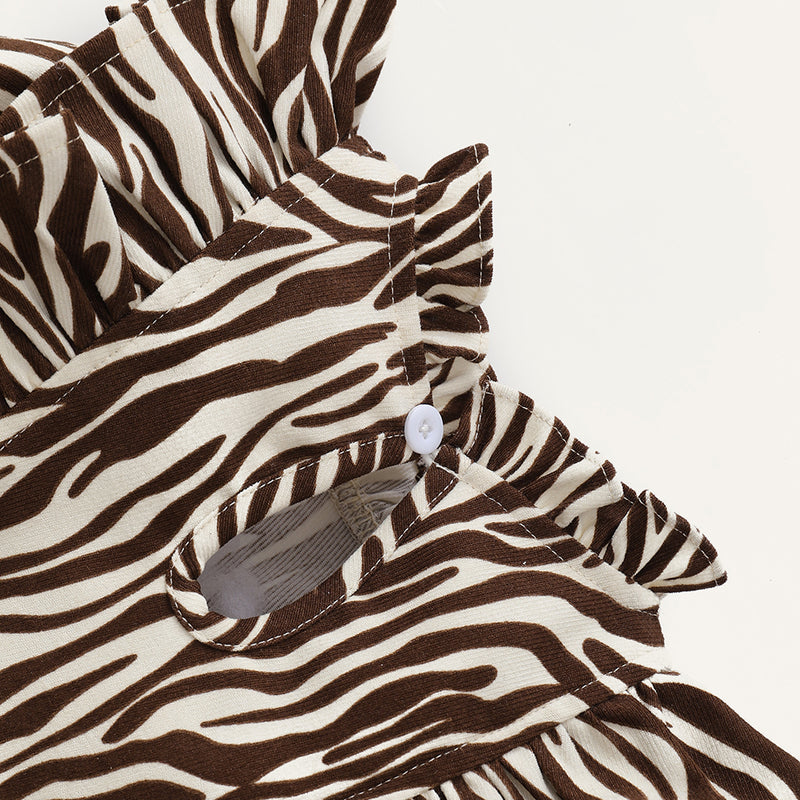 Baby Girls Zebra Printed Long Sleeve Dress Wholesale Baby Dresses