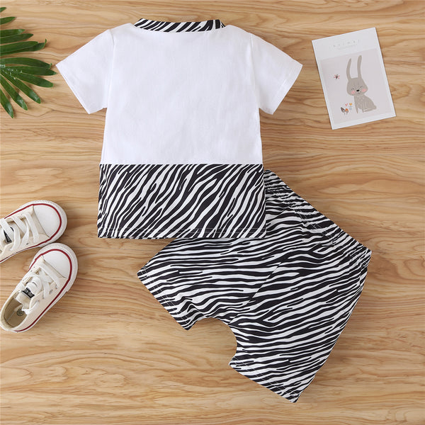 Baby Boys Zebra Printed Short Sleeve Top & Shorts Wholesale Baby Clothes