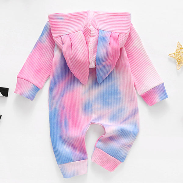 Baby Unisex Zipper Hooded Tie Dye Romper Cheap Boutique Baby Clothing