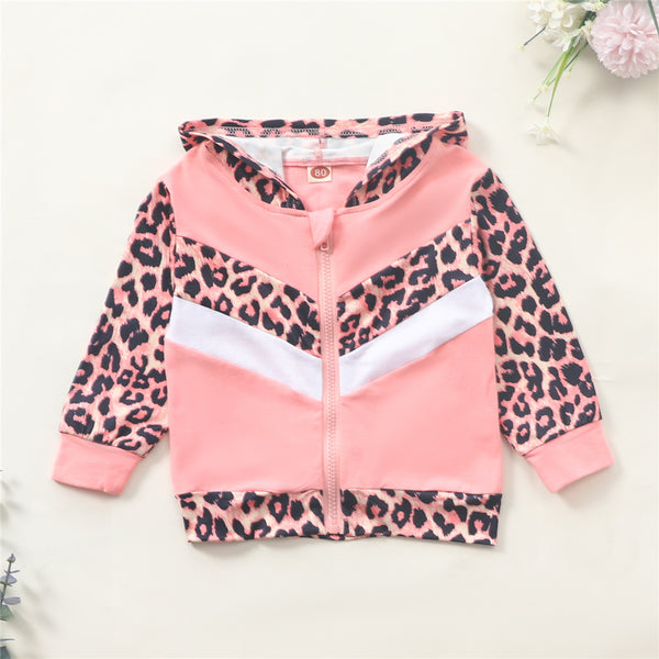 Girls Zipper Leopard Color Blocking Hooded Long Sleeve Jacket Wholesale Girls
