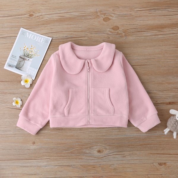 Girls Zipper Solid Color Long Sleeve Jacket Wholesale Little Girl Boutique Clothing