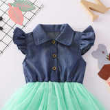 Girls Lapel Flying Sleeve Splicing Tulle Dress Toddler Clothing Wholesale