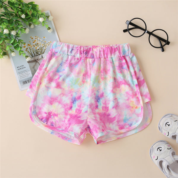 Girls Casual Tie Dye Shorts kids clothing wholesale