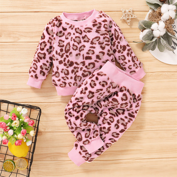 Girls Leopard Long Sleeve Pullover & Pants Toddler Girls Wholesale