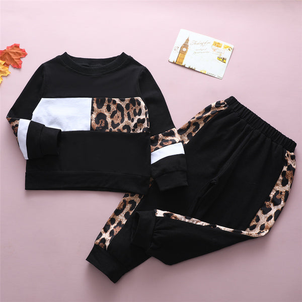 Girls Leopard Long Sleeve Top & Trousers Wholesale Girl Clothing