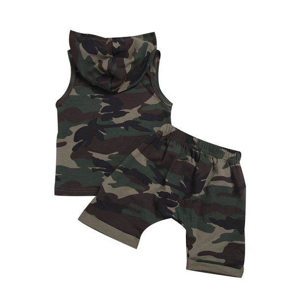 Boys Letter Print Camo Hooded Sleeveless Top & Short Infant Summer Clothes