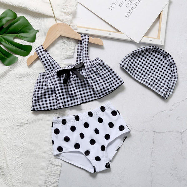 Girls Polka Dot Top & Shorts & Hat Toddler Three-pieces Swimsuit