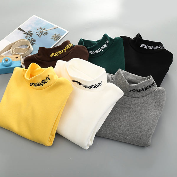 Boys  Long Sleeve High Neck  Solid color T-shirt  Wholesale Boys Clothes