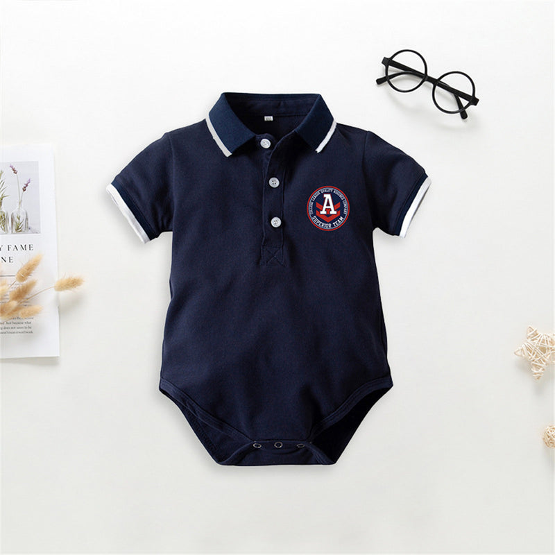 Baby Boys Short Sleeve Tie Lapel  Romper & Shorts Baby Boutique Wholesale