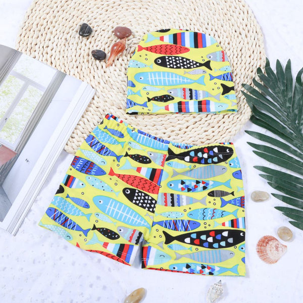 Boy's Swimming Shorts + Hat Children's Cute Cartoon Swimming Suit Wholesale