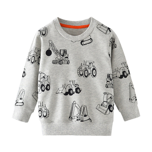 Boys Cartoon Engineering Vehicle Printed Long Sleeve Tops