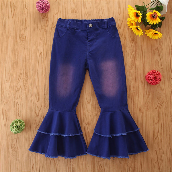 Girls Stylish Button Solid Flare Jeans Girls Clothes Wholesale