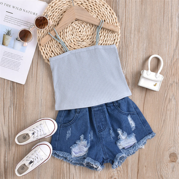 Girls Solid Sling Top & Ripped Denim Blue Shorts kids wholesale clothing
