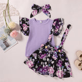 Girls Floral Printed Short Sleeve Splicing Top & Suspender Skirt & Headband wholesale kids clothing