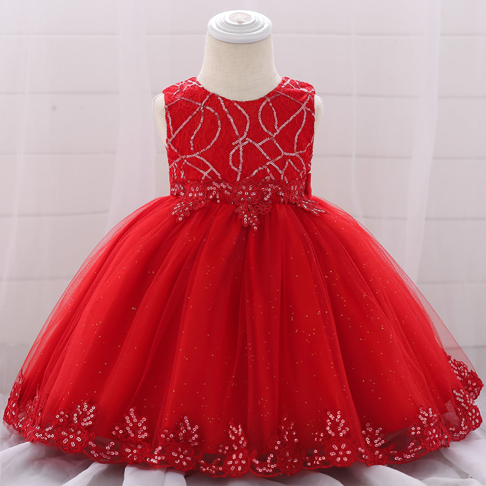 Toddler Girl Dress Sequin Mesh Dress Flower Girl Princess Tutu Dress