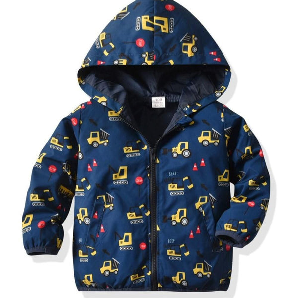 Kids Boy Cartoon Car Printed Hooded Coat Wholesale Boy Clothes