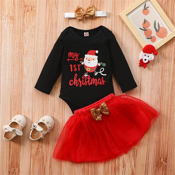 Baby Girl Christmas 3CPS Letter Printed Long Sleeve Romper & Tulle Skirt Baby Wholesales
