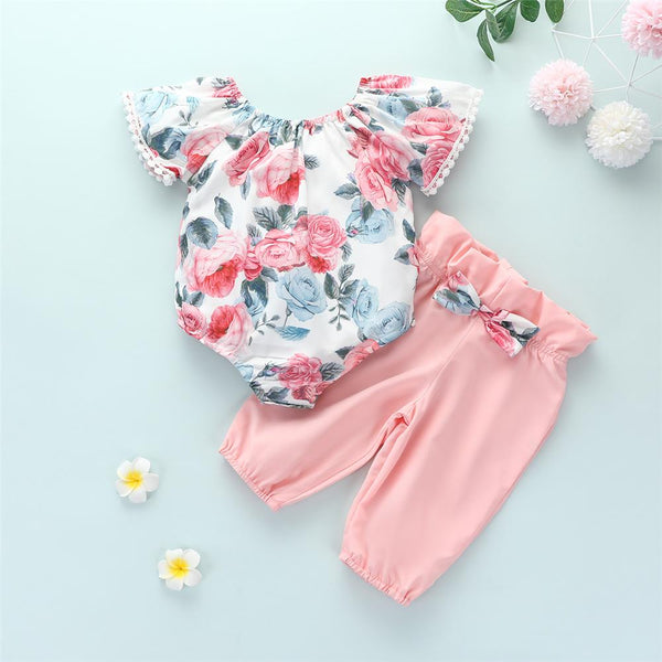 Baby Girls Short Sleeve Floral Printed Top & Pants Wholesale Baby Items