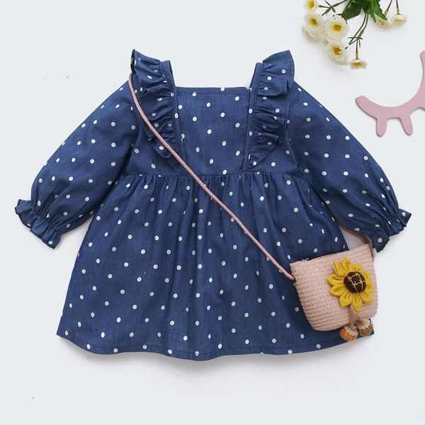 Baby Girls Polka Dot Ruffled Long Sleeve Dress Find Wholesale Baby Clothes Suppliers