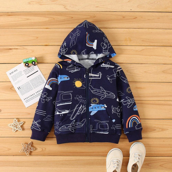 Kid Boys Plant Printed Hooded Coat Wholesale Boys Boutique Clothing