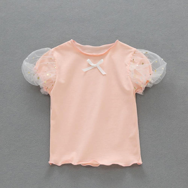 Girls Summer Baby Girl Bubble Sleeve Solid T-Shirt Wholesale Baby Clothes