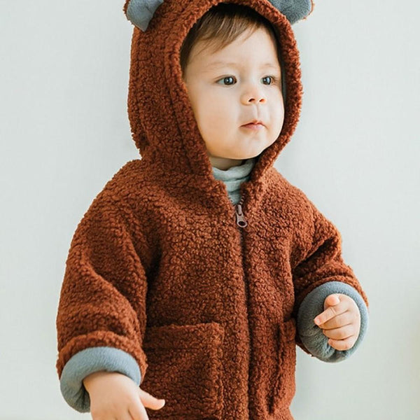 Unisex Baby Fuzzy Hooded Zipper Jacket Baby Boy Wholesale Boutique