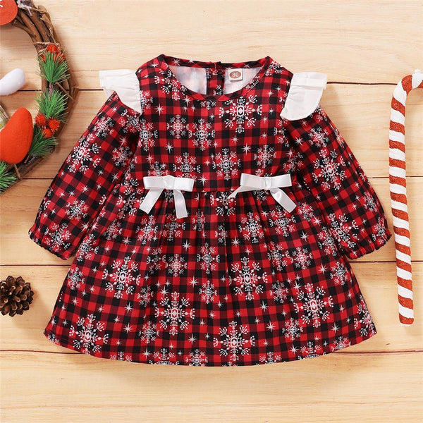 Girls Christmas Snowflake Bow Decor Long Sleeve Dress Girls Wholesale Dresses