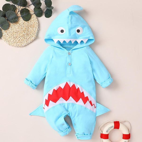 Baby Unisex Shark 3D Long Sleeve Hooded Cute Romper Wholesale Baby Boutique Items