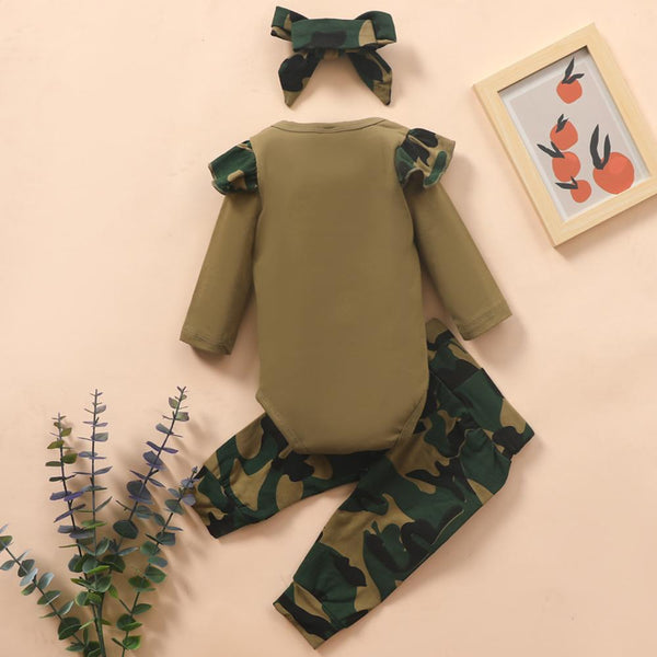 Baby Daddy's Litter Girl Camo Long Sleeve Romper & Pants & Headband Baby Outfits