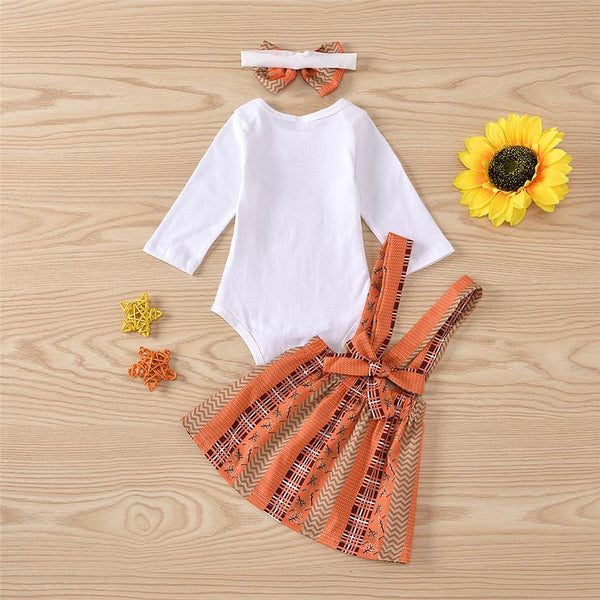 Baby Girls Turkey Thanksgiving Printed Romper & Skirt & Headband Baby Clothes Vendors