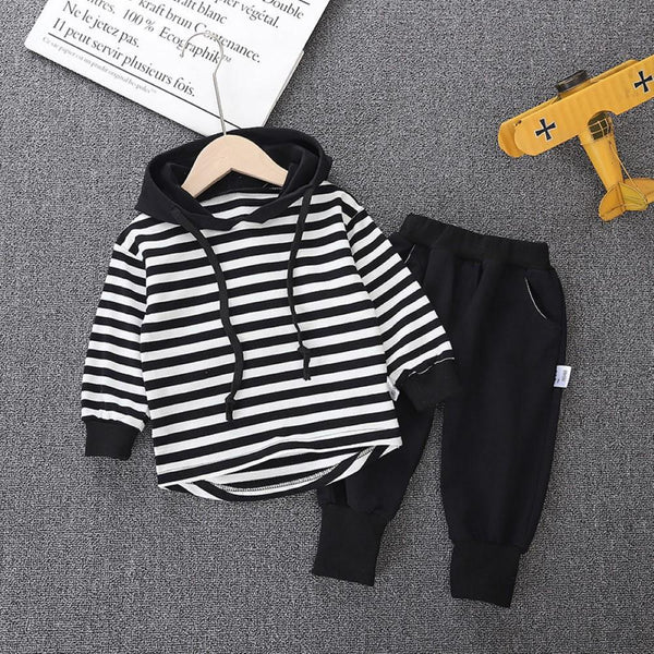 Kid Boys Stripe Hooded Top & Pants Baby Boys Clothing Wholesale