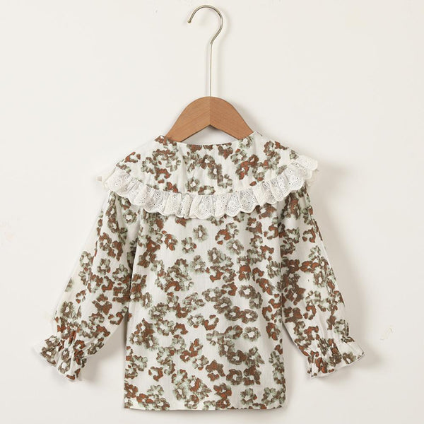 Girls Lace Doll Collar Long Sleeve Floral Printed Cardigan Blouse Wholesale Girls