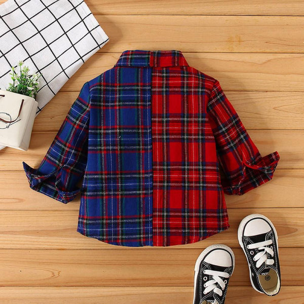 Boys Lattice Two-color Lapel Shirt Boys Wholesale