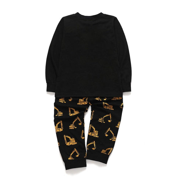 Boys Cartoon Excavator Printed Tracksuit Wholesale Boys Boutique Clothing