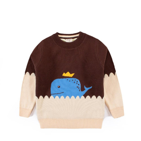 Kid Boy Crown Whale Cartoon Pattern Sweater Boy Clothes Wholesale