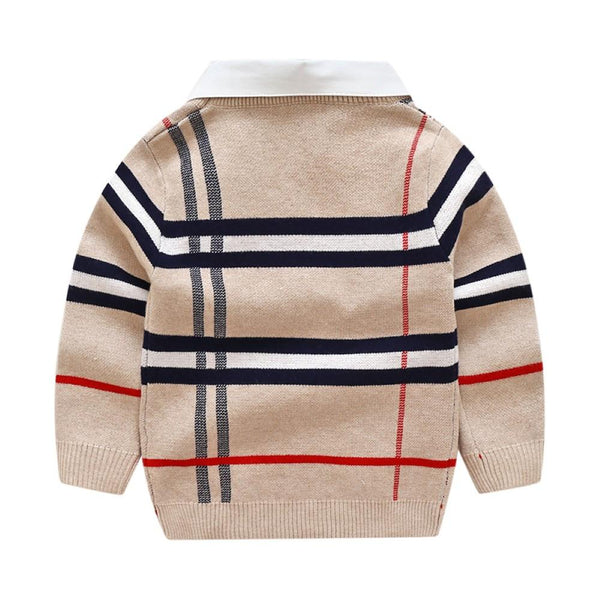 Kids Boy Lapel Strip Pattern Polo Sweater Boy Boutique Clothing Wholesale