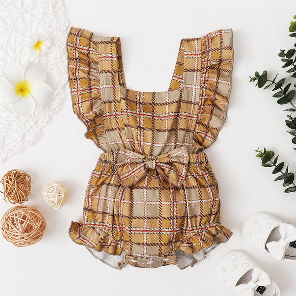 Baby Girls Bow Decor Plaid Floral Printed Ruffled Romper Wholesale Baby Clothes