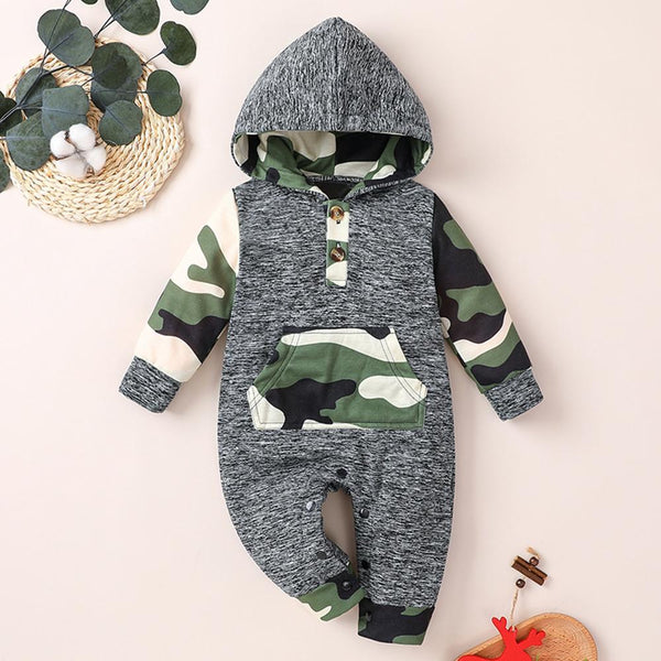 Baby Unisex Hooded Plaid Camo Long-sleeve Casual Romper Newborn Baby Clothes Wholesale
