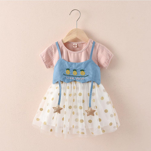 Girls Short Sleeves Dress Toddler Girl Dresses Girls Clothes Wholesale
