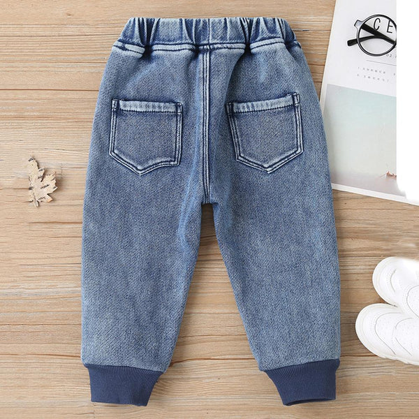 Boys Pocket Letter Elastic Waist Warm Pants Boy Clothing Wholesale