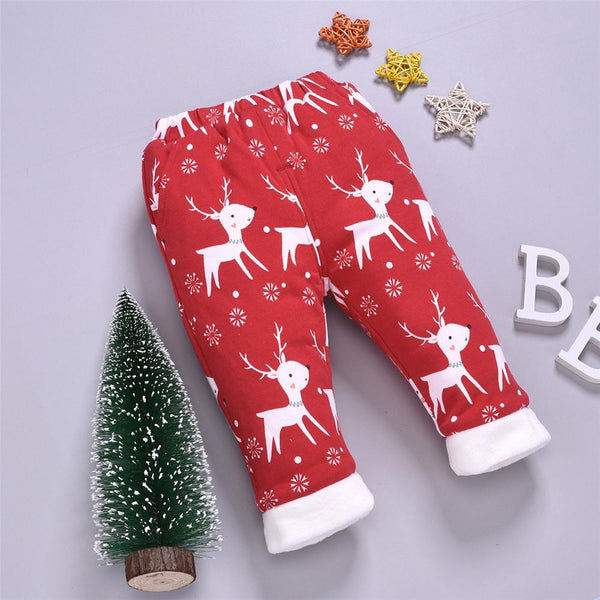 Baby Elk Printed Elastic Waist Winter Warm Pants Baby Wholesale Clothes