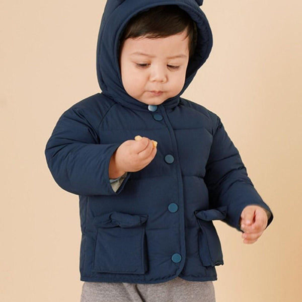 Unisex Cute Ear Hooded Solid Outerwear Boys Boutique Clothing Wholesale