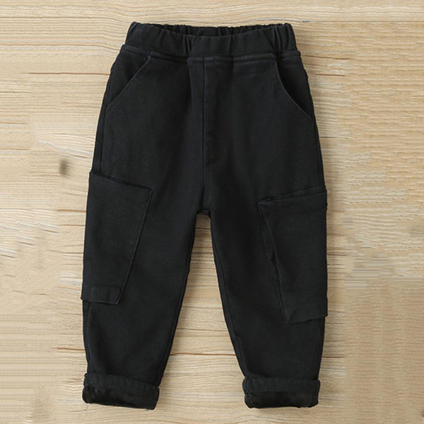 Unisex Solid Color Big Pocket Casual Winter Warm Pants Trendy Kids Wholesale Clothing