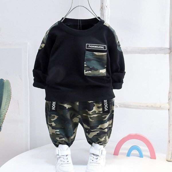 Kid Boys Camouflage Splicing Top & Pants Boys Casual Suits