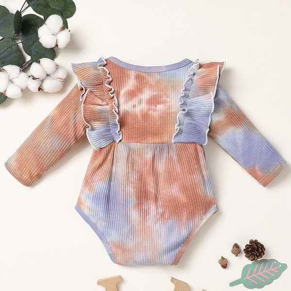 Baby Girl Long Sleeve Tie-dye Bow Decor Long Sleeve Romper Baby Clothing Warehouse