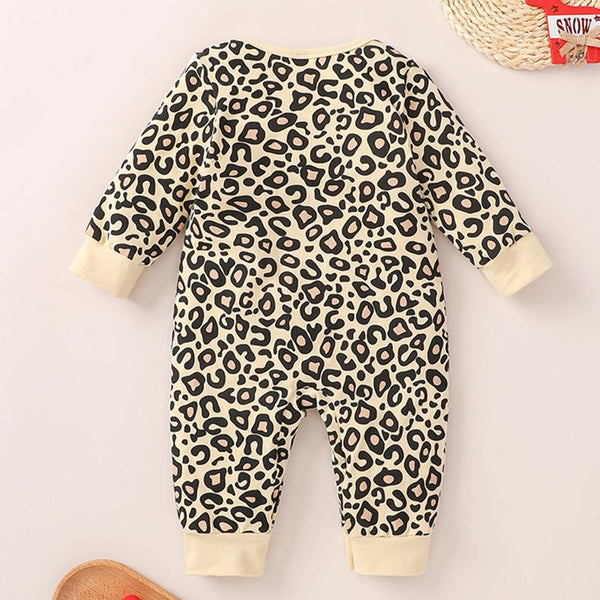 Baby Girls Crew Neck Leopard Long Sleeve Romper Baby Wholesale Clothing