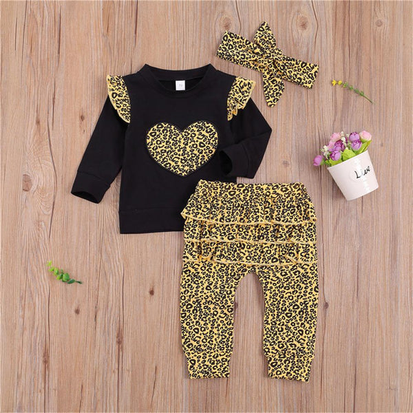 Baby Girl Heart Leopard Ruffled Long Sleeve Tee & Pants &Headband Wholesale Baby Boutique Items