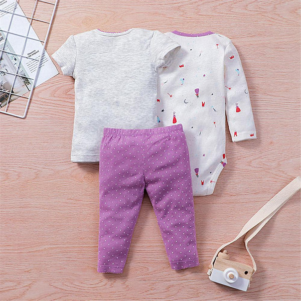 Baby Unisex 3-Piece Cartoon Printed Short Sleeve Top & Long Sleeve Romper & Pants Baby Wholesales